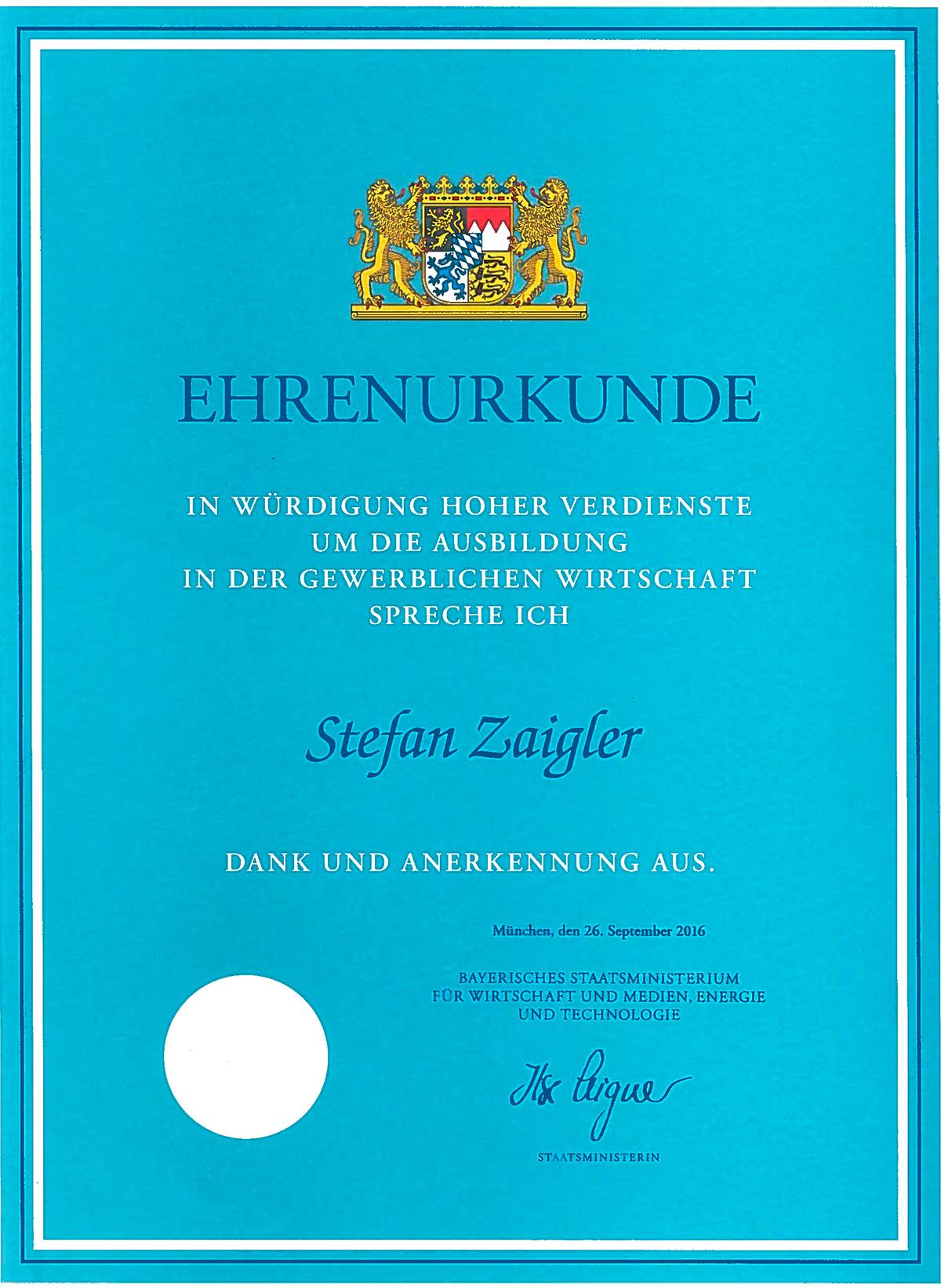 zaigler-ehrenurkunde